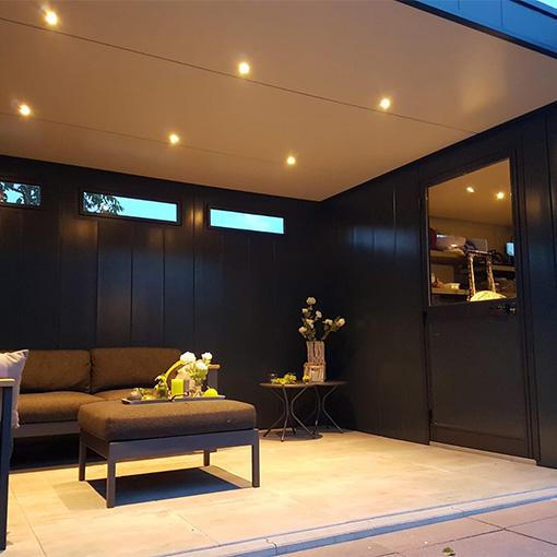 Hermes portfolio tuinhuis met overkapping interieur