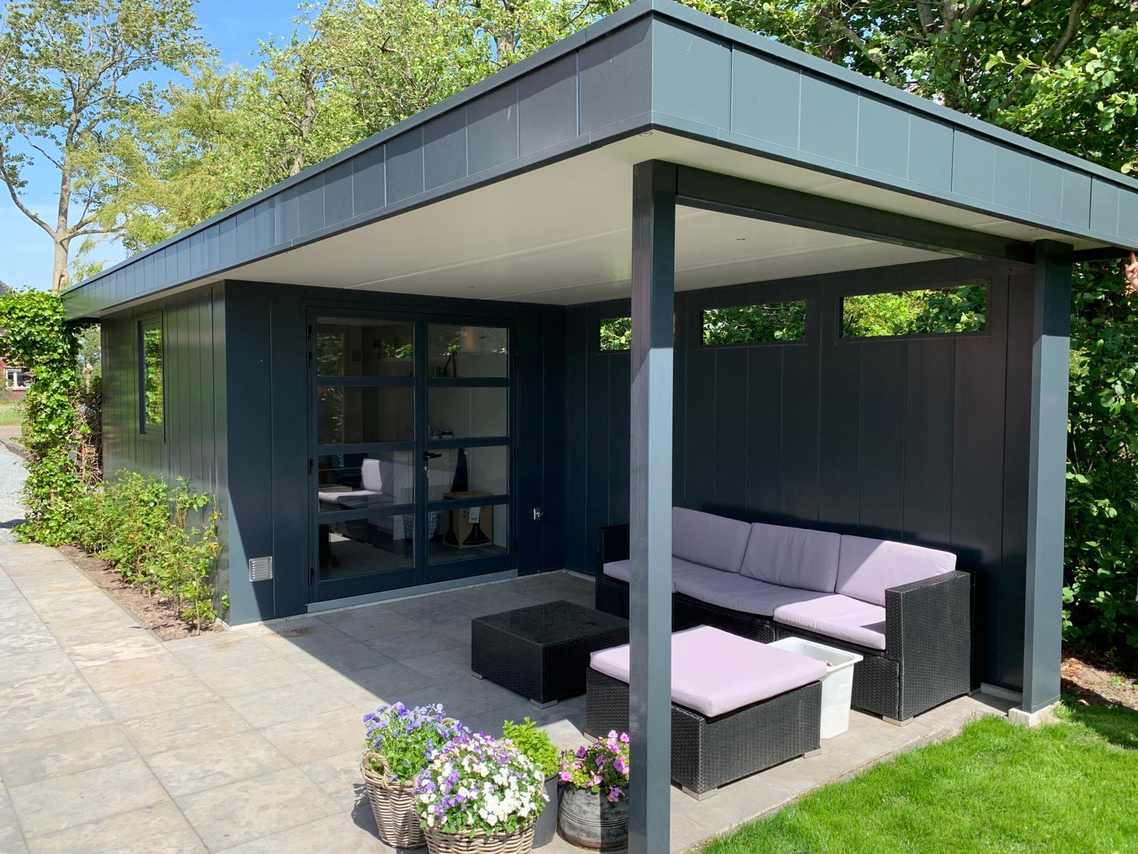 Hermes tuinhuis met overkapping project Wijnker